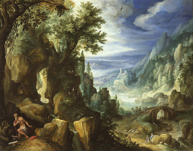 Saint Jerome praying in a rocky landscape (1592) by Paul Bril