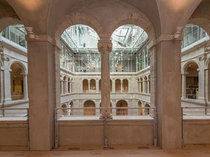 An interior view of Renzo Piano's renovation of Harvard Art Museum