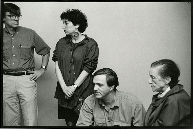 Robert Storr with Louise Bourgeois installing at MoMA 1992. Image courtesy of Robert Storr