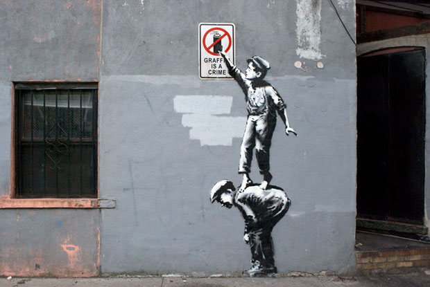 The Street Is In Play - Banksy (from the New York series Better Out Than In) (pre-erased)