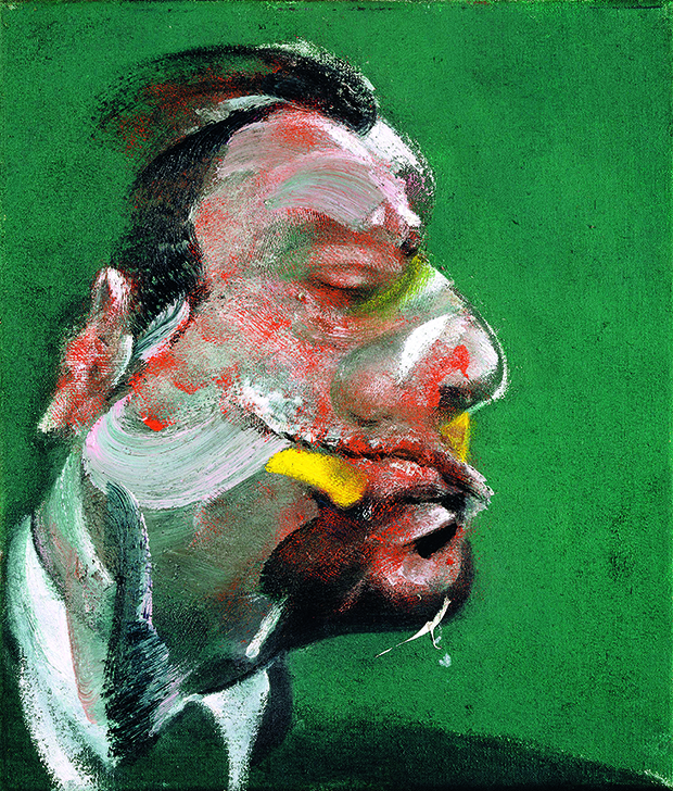 Francis Bacon - Study for Head of George Dyer, 1967. This work dates from the same year as Dahl's Freud portrait, and displays similar qualities