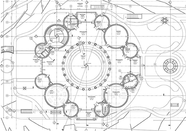 Plans for Sufism Reoriented's new sanctuary, courtesy of Philip Johnson/Alan Ritchie.