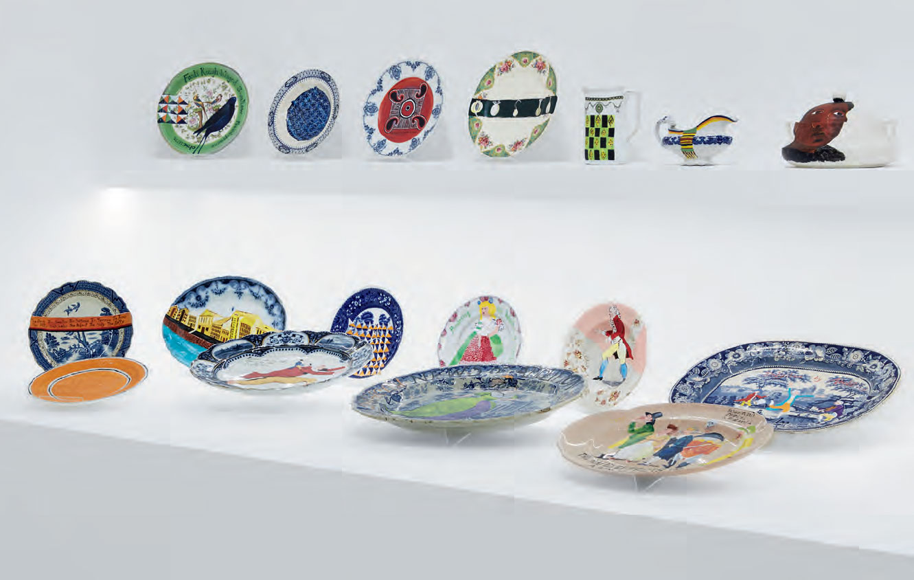 Part of Swallow Hard: The Lancaster Dinner Service (2007) by Lubaina Himid.  Courtesy Hollybush Gardens and the artist. Image courtesy Modern Art Oxford. Photo: Ben Westoby.