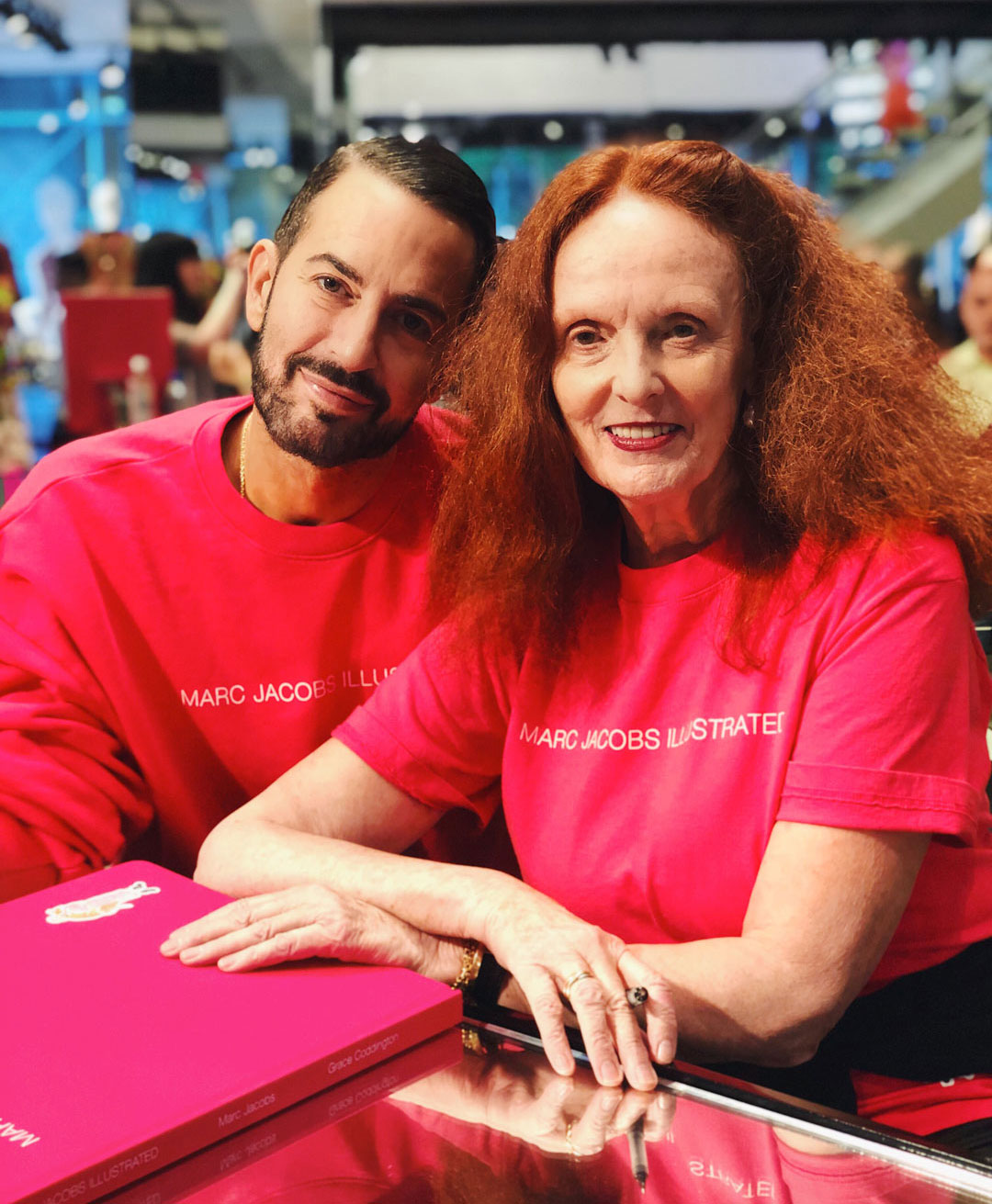 Marc Jacobs and Grace Coddington at their New York signing. Photograph by Jim Shi, courtesy of his Instagram @jshi809