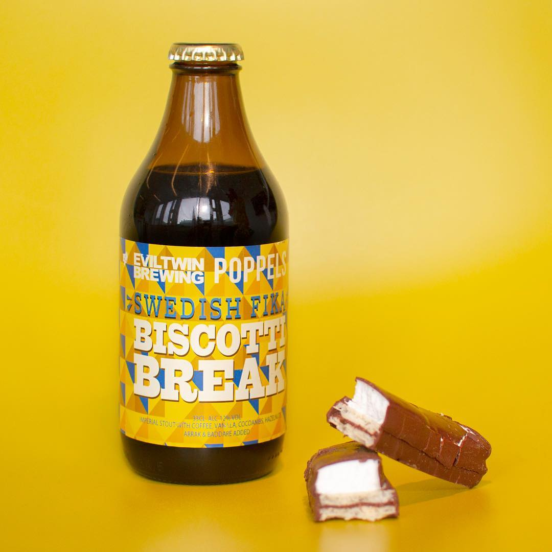 Poppels and Evil Twin Brewing's Swedish Fika Biscotti Break beer. Image courtesy of Evil Twin's Instagram