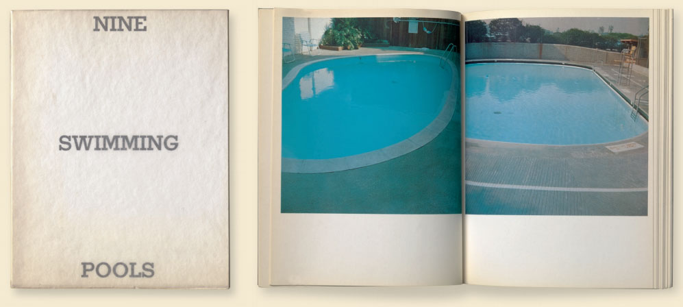 A spread from Nine Swimming Pools and a Broken Glass (1968) by Ed Ruscha