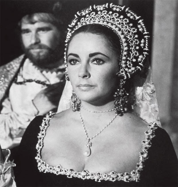 Elizabeth Taylor in Anne of the Thousand Days (1969), wearing the La Peregrina, 1972, natural pearl, diamond and ruby necklace, 78 cm (30½ in) necklace and drop SALE: 13 December 2011, New York; ESTIMATE: $2m–3m/£1.3m–1.9m; SOLD $11,842,500/£7,626,570. From Going Once: 250 Years of Culture, Taste and Collecting at Christie's