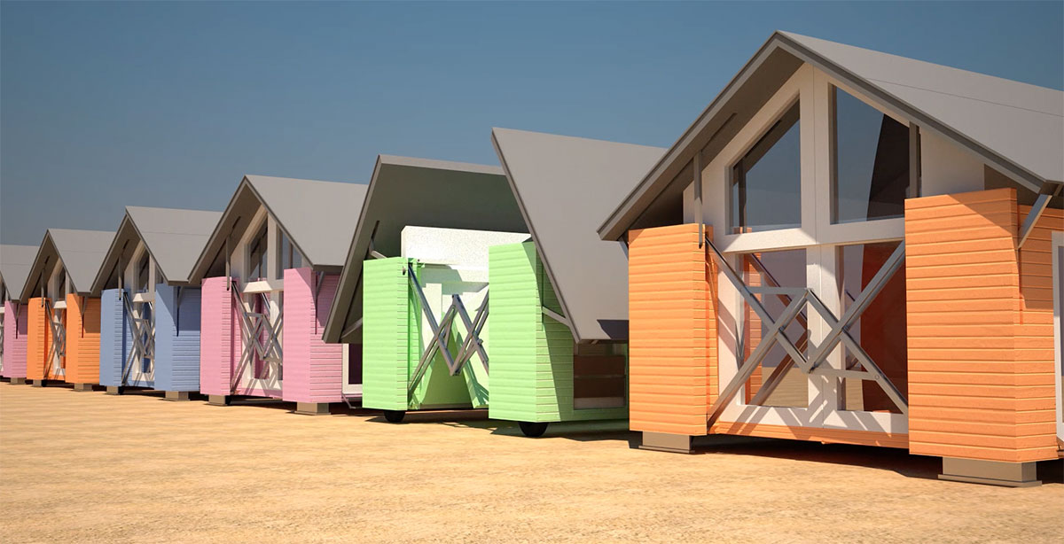 One of Ten Fold's beach huts. Image courtesy of tenfoldengineering.com