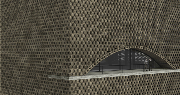 The terrace from Alejandro Aravena's designs for the new Tehran stock exchange