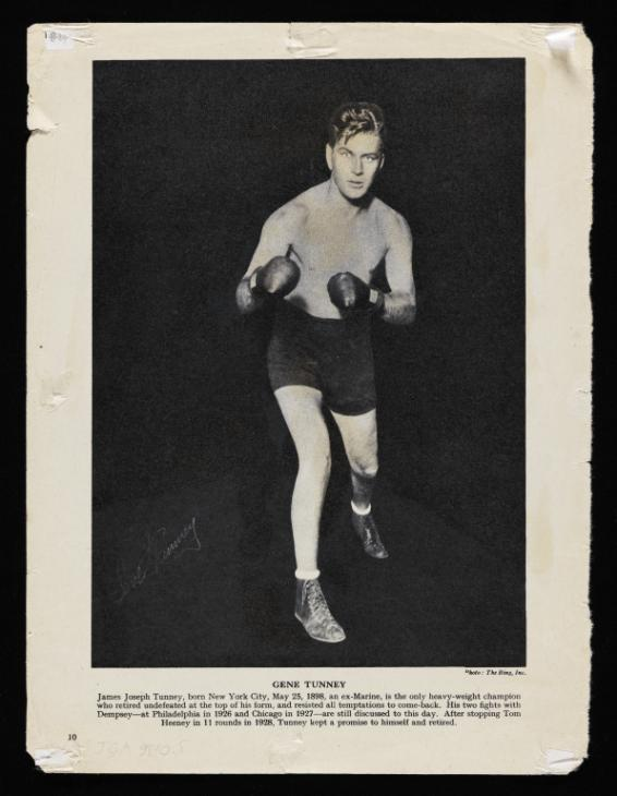 Extract from unidentified boxing magazine with photograph of Jack Dempsey and Gene Tunney. From the Francis Bacon Archive at the Tate.  Image courtesy of the Tate. The document forms part of the AnnoTate project.