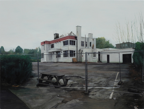 George Shaw, <em>The Age of Bullshit<em> (2010) Humbrol enamel on board