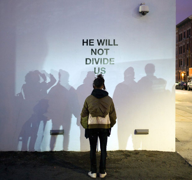 Jaden Smith opens He Will Not Divide Us, 2016 by LaBeouf, Rönkkö & Turner