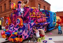 Wild Artist Olek crochets steam locomotive