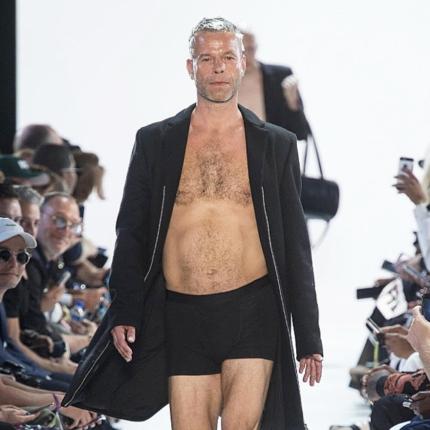 Wolfgang Tillmans modelling for Hood by Air in New York, 2016