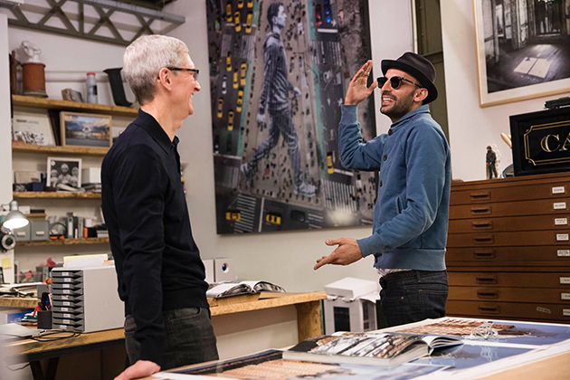 Tim Cook and JR at JR's studio in Paris. Image courtesy of Tim Cook's Twitter account