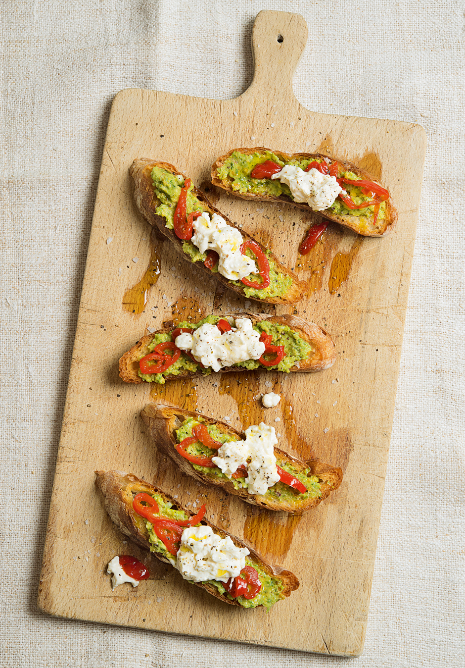 Ramp Pesto with Burrata and Peppadews