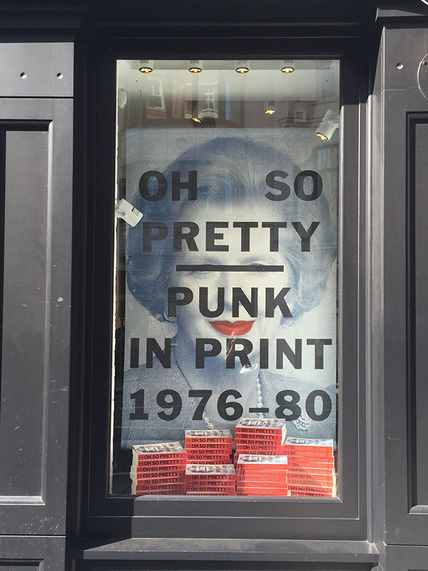 The John Varvatos store window for the launch of Oh So Pretty Punk in Print 1976-80 by Toby Mott