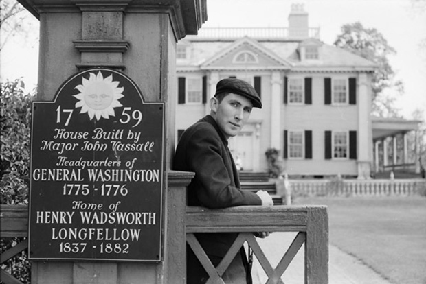 Tomi Ungerer beside the Longfellow House in Cambridge Massachusetts, 1956