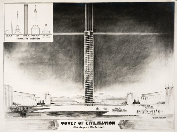 Standing nearly 1,300 feet tall and built partly from magnesium, the Tower of Civilization would have soared over the grounds of the LA World's Fair. Photo courtesy of the Huntington Library