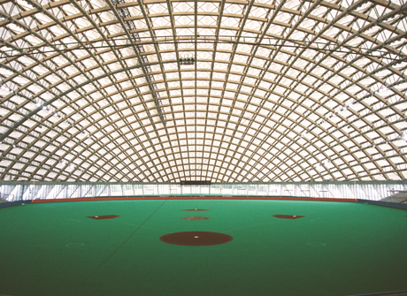 Multipurpose sports dome, 1993—1997, Odate-shi, Akita, Japan, by Toyo Ito. Photo by Mikio Kamaya