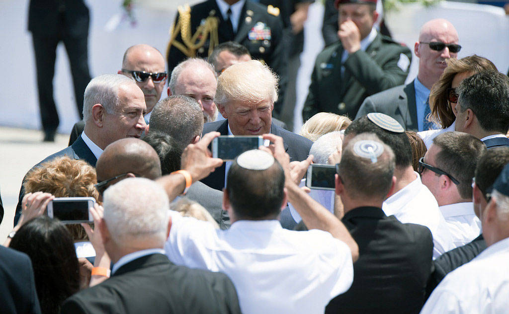 President Donald Trump and First Lady Melania Trump are welcomed by Prime Minister of Israel Benjamin Netanyahu, and Israeli President Reuven Rivlin, on their arrival to Ben Gurion International Airport, Monday, May 22, 2017, in Tel Aviv, Israel. (Official White House Photo by Andrea Hanks)