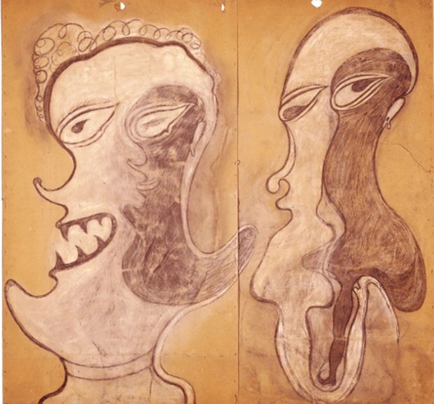 Deux visages (two faces) (1917-22) by Heinrich Anton Müller. From the Collection de l'Art Brut. As reproduced in Raw Vision