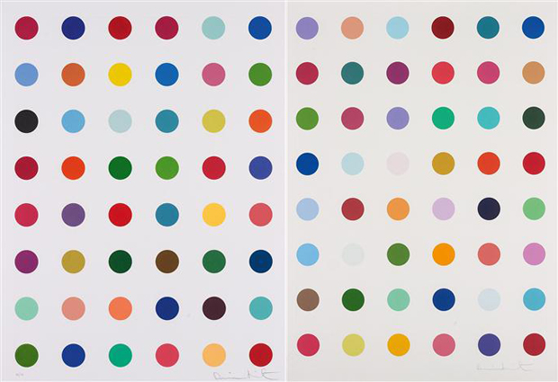 Left to right: Untitled, from Re-Object Mythos portfolio, (2007); Oleoylsarcosine (2008) both by Damien Hirst