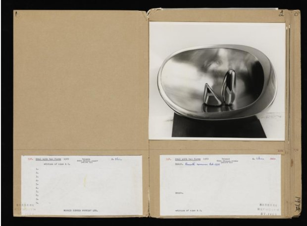 Document listing the details of Oval with two forms (1972) by Barbara Hepworth. Image courtesy of the Tate. The document forms part of the AnnoTate project.