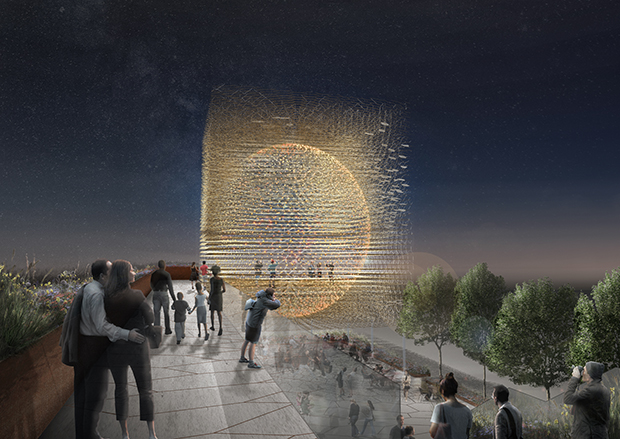 Renderings of the UK pavilion at the Milan Expo 2015, by Wolfgang Buttress