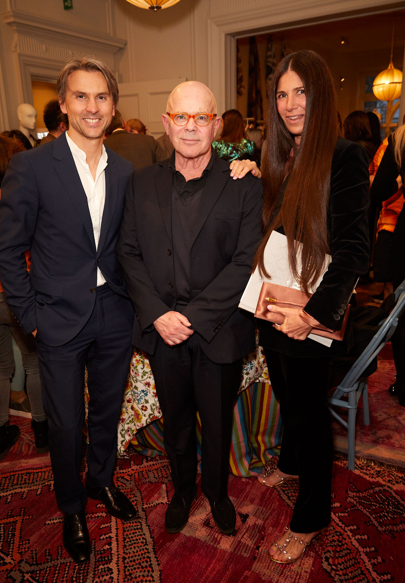 Ulric Jerome, William Norwich and Elizabeth Saltzman at the Interiors launch at MATCHESFASHION.COM in London
