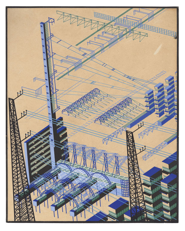Yakov Chernikov, Composition on a theme of an industrial area with buildings and metal constructions, 1924-33, paper, ink, gouache, pencil, whiting. Tchoban Foundation.