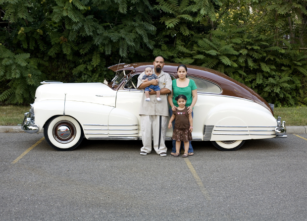 Corine Vermeulen, the Diaz family and their '48 Chevrolet Fleetline, 2008. From The Architectural Imagination's My Detroit Postcards