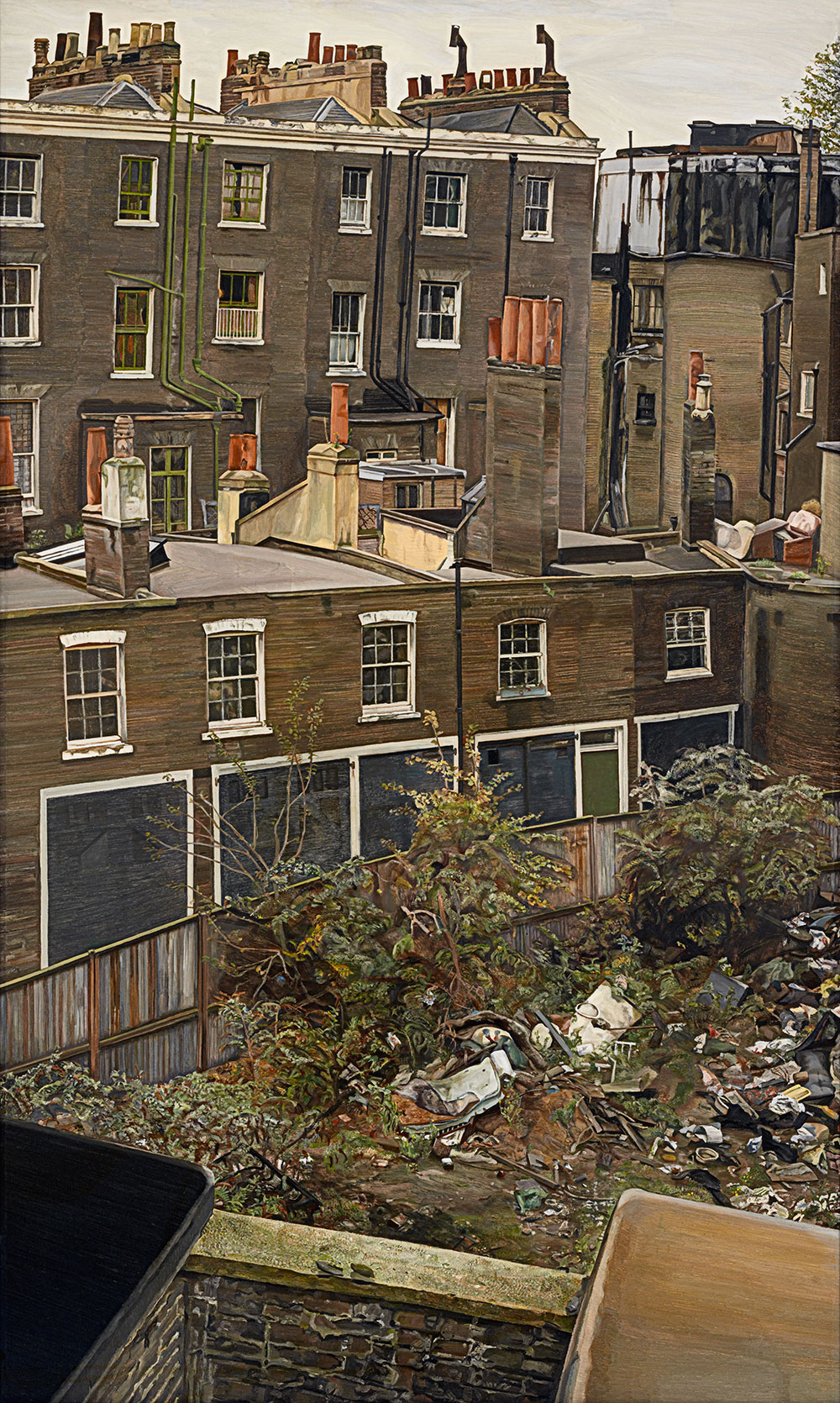 Lucian Freud, Wasteground with Houses, Paddington, 1970–2, oil on canvas, 167 × 101 cm, 65¾ × 39¾ in. © The Lucian Freud Archive / Bridgeman Images; photography by John Riddy (volume 1, page 285)