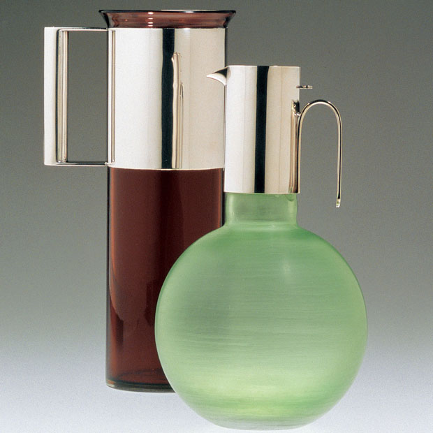 Vignelli, glass and silver carafes