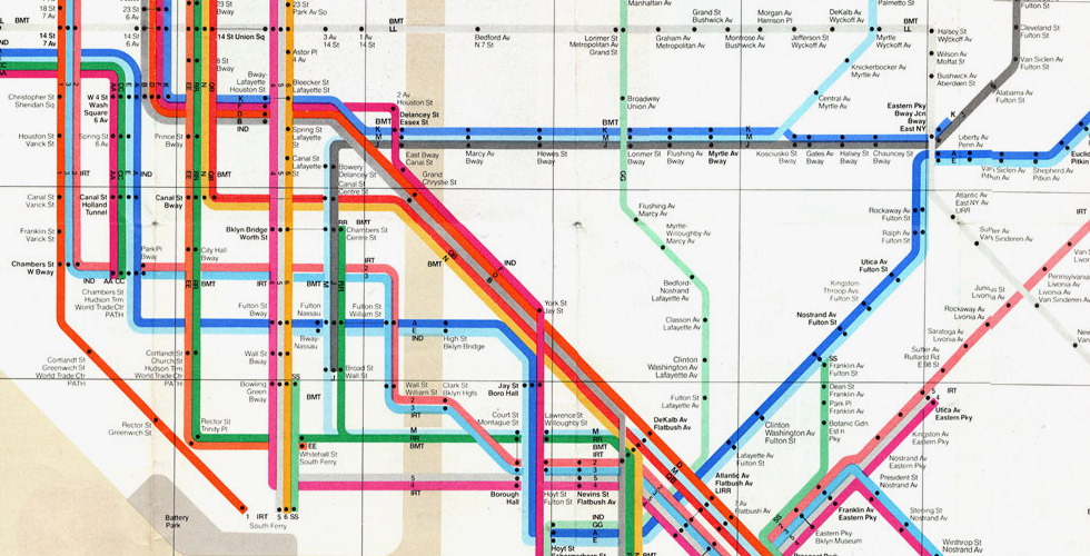 Detail from Massimo Vignelli and Bob Noorda's 1972 New York Subway Map