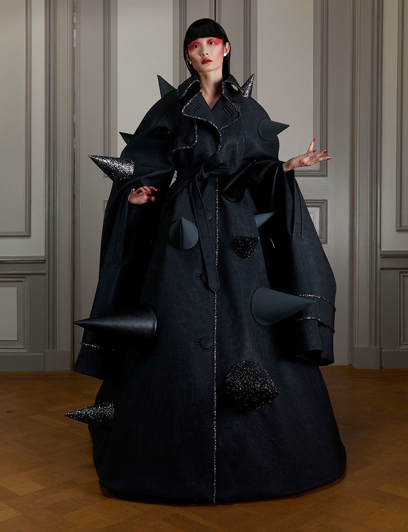 A black, spiky coat from Viktor&Rolf's Autumn/Winter 2020 collection