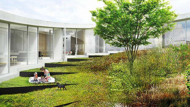 A rendering of Villa Gug by BIG. Image courtesy of BIG
