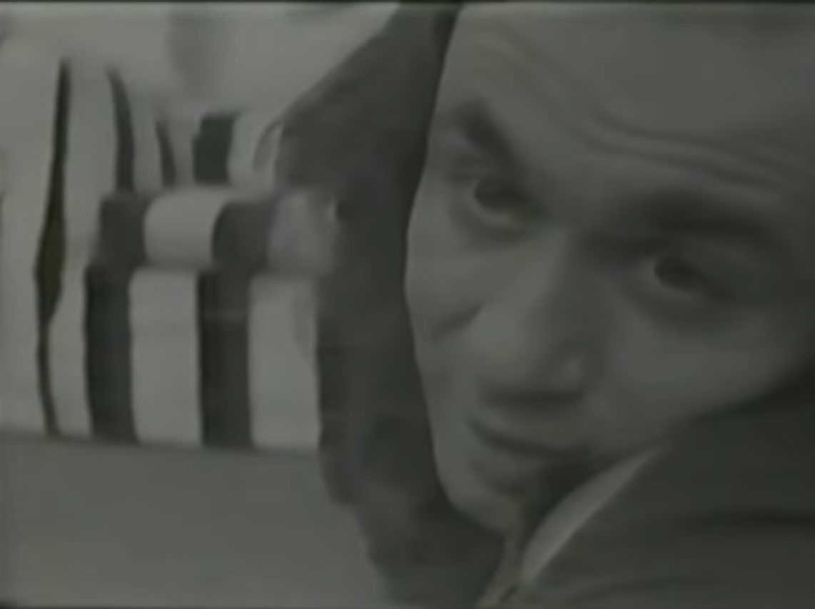 A still from Theme Song, 1973 by Vito Acconci. Video, black and white, sound, 33 min. 15 sec.