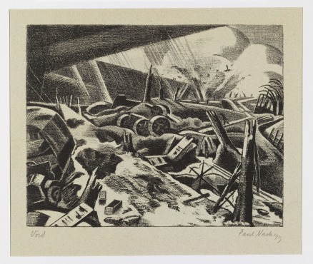 Paul Nash, 1889-1946 Void 1918 Lithograph, signed and dated in pencil Paul Nash 1919, lower right, and inscribed Void, lower left, printed in black ink on warm grey Ingres paper. 7 x 9 inches (18 x 22.9 cm) sheet 18 1/2 x 24 inches (47.3 x 61 cm) Courtesy: The Fine Art Society