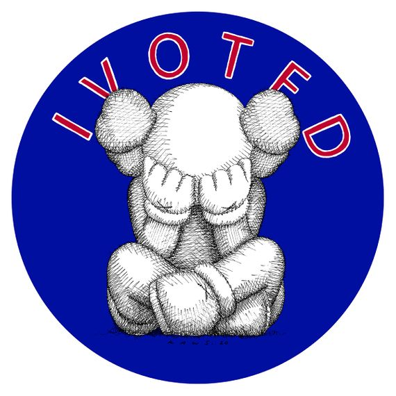 KAWS, Adam Pendleton and friends reimagine the I Voted sticker