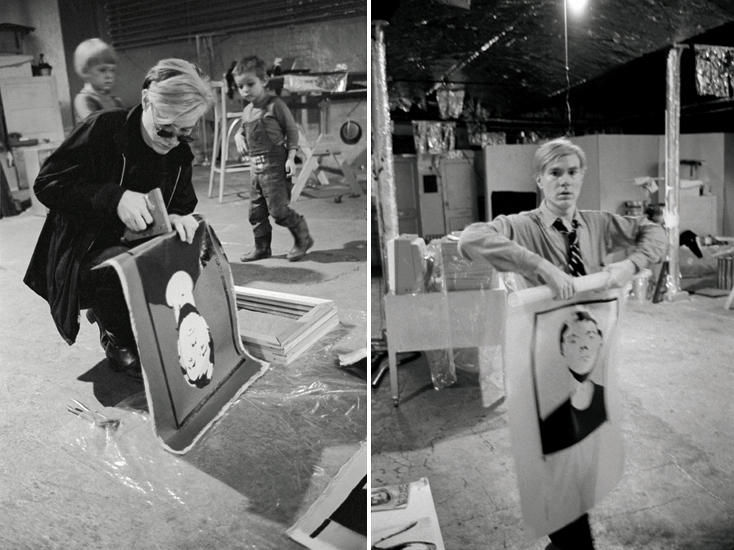 Andy Warhol working on 'Self-Portrait' at The Factory (1964)