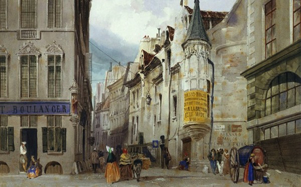 The Corner of the Rue Bailleul and the Rue Jean Tison, (1831) by Thomas Shotter Boys