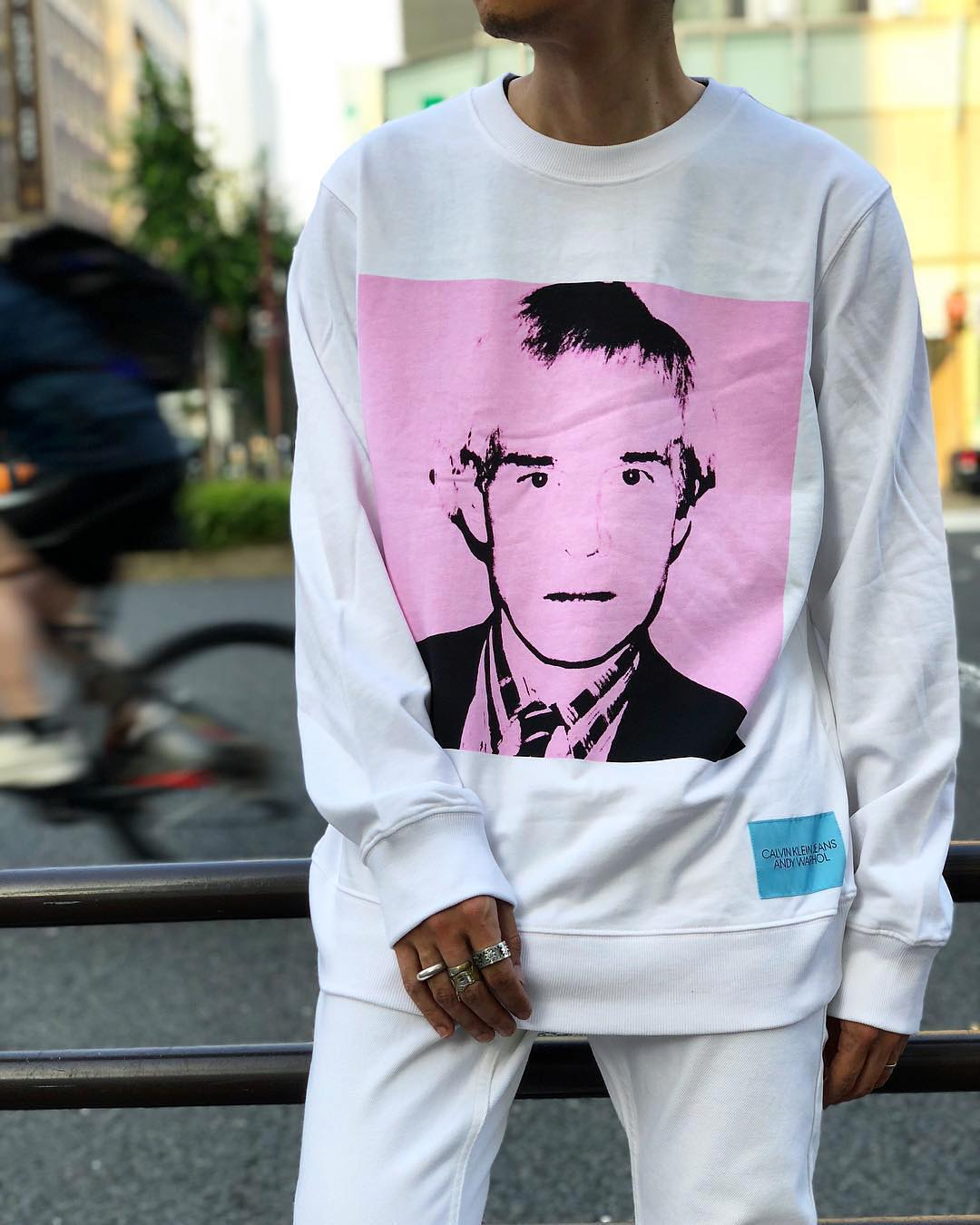 An Andy Warhol self-portrait printed on a crew-neck shirt by Calvin Klein Jeans. Image courtesy of Calvin Klein's Instagram