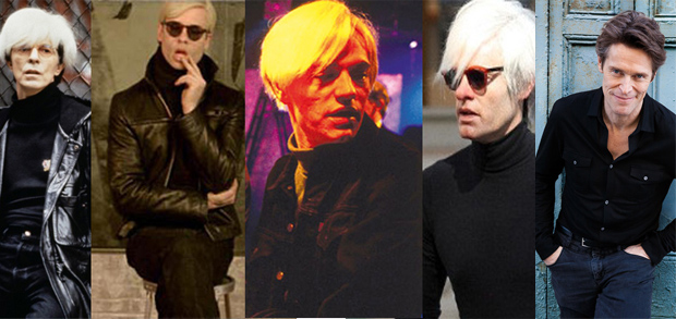 David Bowie, Guy Pearce, Jared Harris, and Bill Hader as Andy Warhol; Willem Dafoe