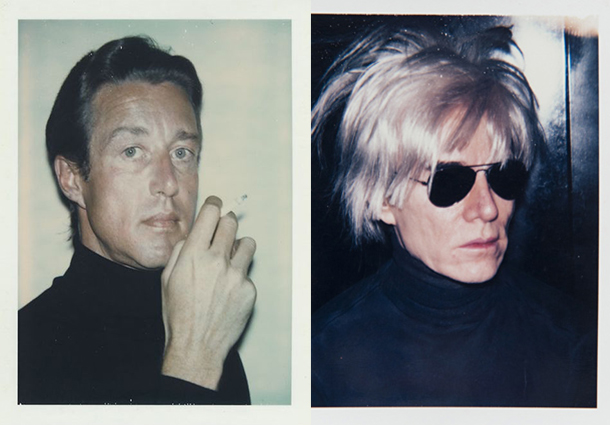 Right, Halston, by Andy Warhol, 1974; left: Warhol self portrait with fright wig, 1986