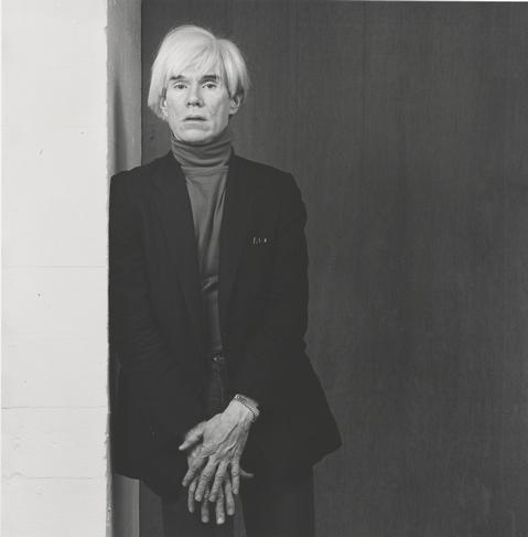 Andy Warhol, 1983, by Robert Mapplethorpe. Gelatin silver print Image: 39.1 x 38.5 cm (15 3/8 x 15 3/16 in.) Promised Gift of The Robert Mapplethorpe Foundation to the J. Paul Getty Trust and the Los Angeles County Museum of Art, L.2012.89.156 © Robert Mapplethorpe Foundation