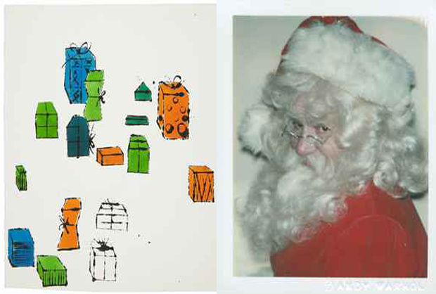 Left: gift packages (c. 1954); right: Myths (Santa) 1981, by Andy Warhol