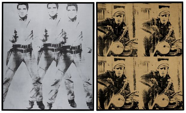 From Left: Triple Elvis (1963); Four Marlons (1966) both by Andy Warhol. The Andy Warhol Foundation for the Visual Arts, Inc./Artists Rights Society (ARS), New York