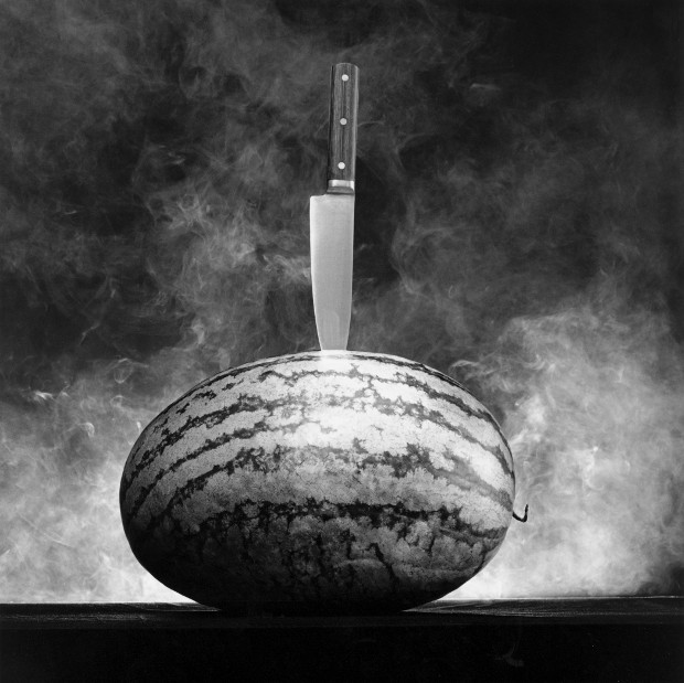 Watermelon with Knife, 1985, by Robert Mapplethorpe. Gelatin Silver Print © Robert Mapplethorpe Foundation. Used by permission.