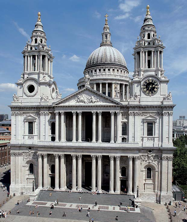 St Paul's Cathedral, west facade facing south, London